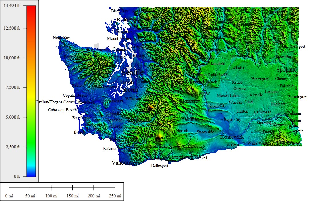 TopoCreator Create And Print Your Own Color Shadedrelief - Topo map of washington state