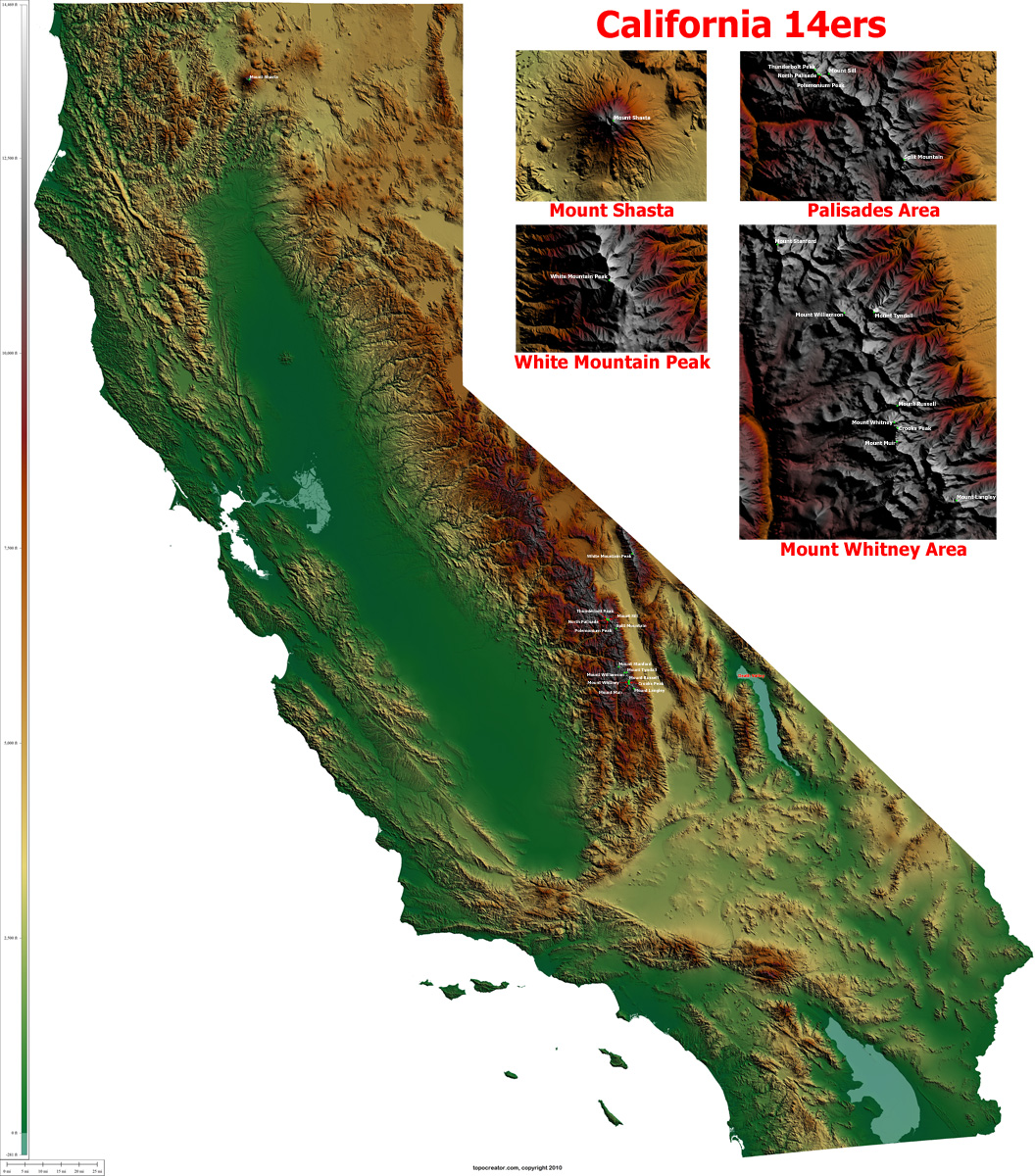 TopoCreator Create And Print Your Own Color Shadedrelief - Elevation map of california